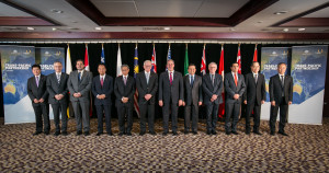TPP Ministerial Meeting, Sydney, family photo, 26 October. (left to right: Permanent Secretary of Brunei, Hon. Dato Lim Jock Hoi; Canadian Minister of International Trade, the Hon Ed Fast; Chilean Vice Minister of Foreign Affairs, Andres Rebelledo; Japane