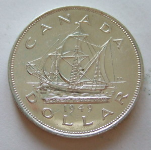 """CANADA, GEORGE VI 1949 ---SILVER DOLLAR. Photo by:  Jerry """"Woody"""""""